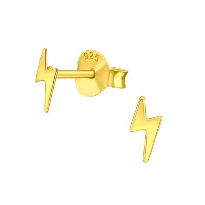 Silver Lightning Bolt Ear Studs
