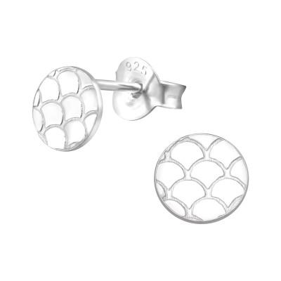 Silver Patterned Ear Studs