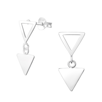 Silver Triangle Ear Studs with Hanging Triangle