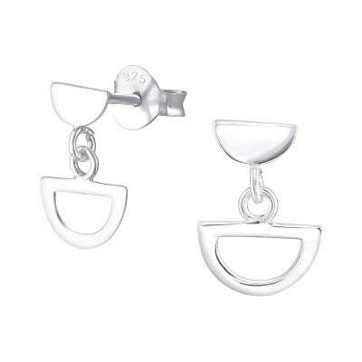 Silver Geometric Ear Studs with Hanging Semi Circle