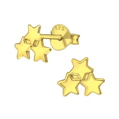 Silver Triple Star Ear Studs