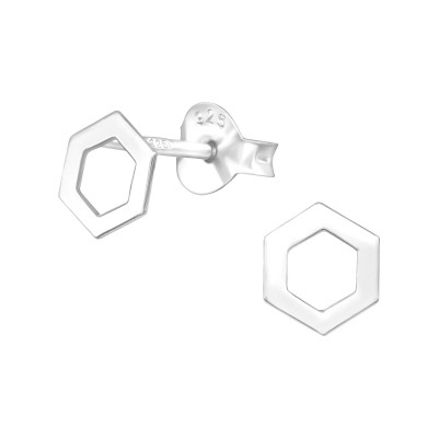 Silver Hexagon Ear Studs