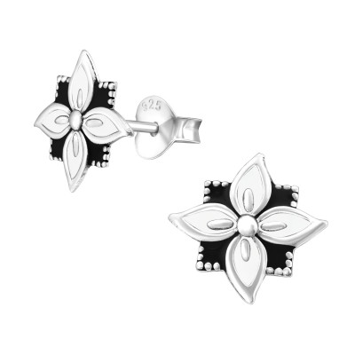 Silver Flower Ear Studs with Epoxy