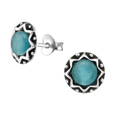 Silver Round Ear Studs with Cat Eye