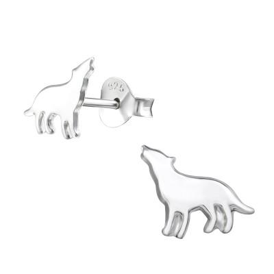 Silver Wolf Ear Studs