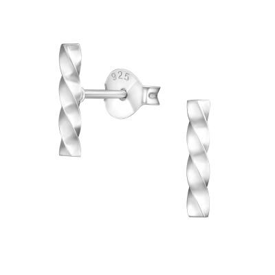 Silver Twist Bar Ear Studs