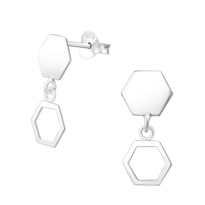 Silver Hexagon Ear Studs with Hanging Hexagon