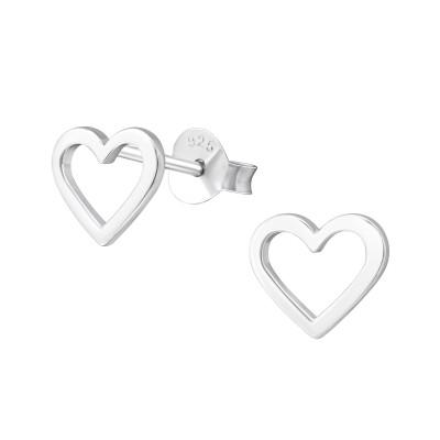 Silver Empty Heart Ear Studs