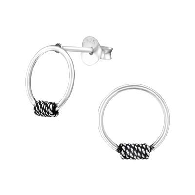 Silver Bali Hoop Ear Studs