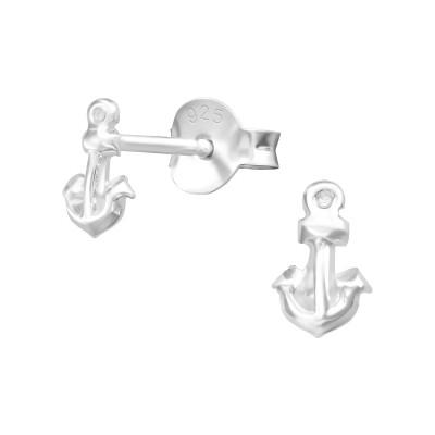 Silver Anchor Ear Studs