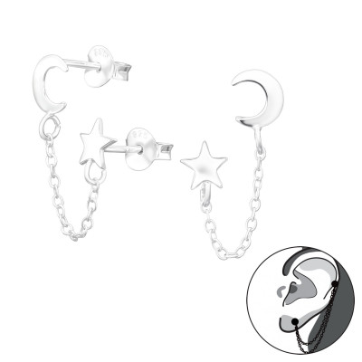 Silver Moon and Star Ear Studs with Hanging Chain