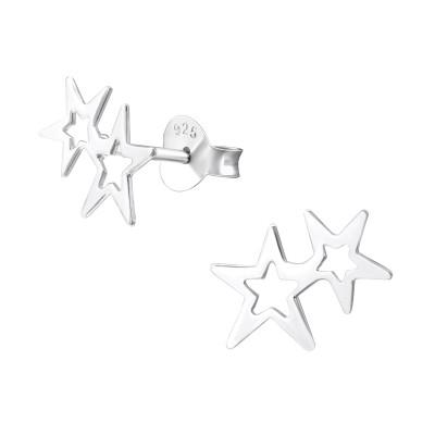Silver Double Star Ear Studs