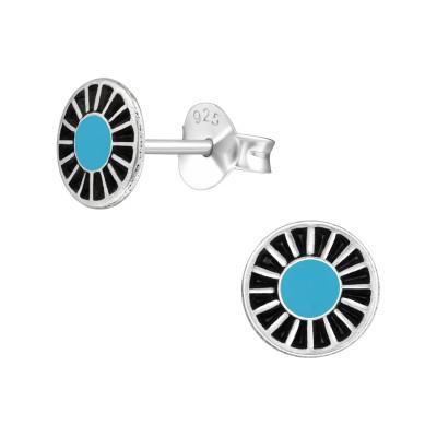 Silver Wheel Ear Studs with Epoxy