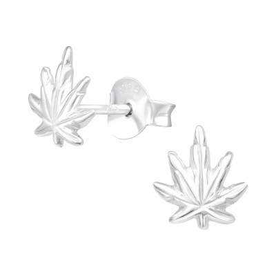 Silver Weed Ear Studs