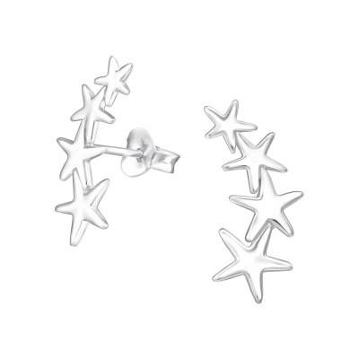 Silver Stars Ear Studs