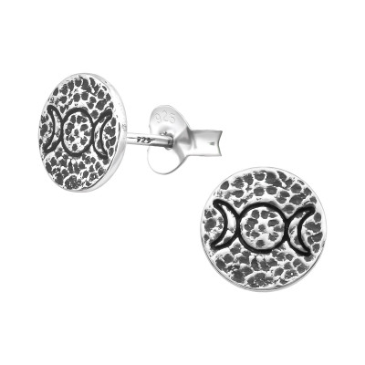 Silver Triple Goddess Moon Ear Studs