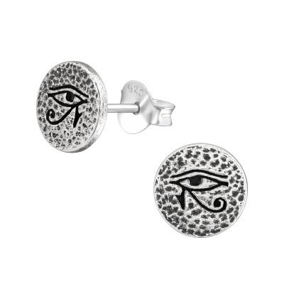 Silver Eye Of Horus Ear Studs