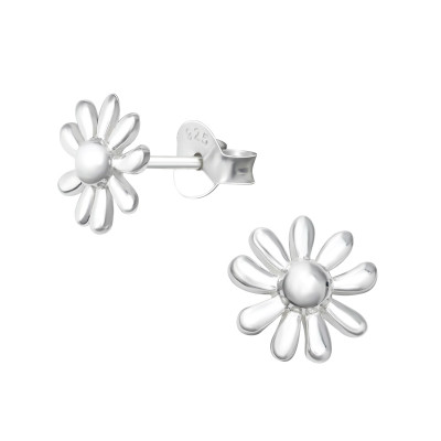 Silver Flower Ear Studs