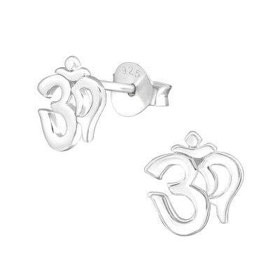 Silver Om Symbol Ear Studs