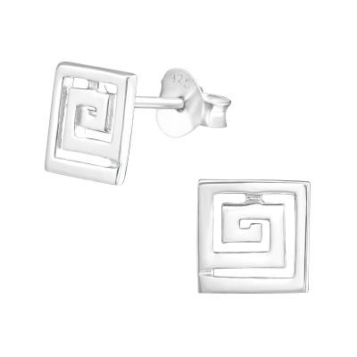 Silver Square Ear Studs