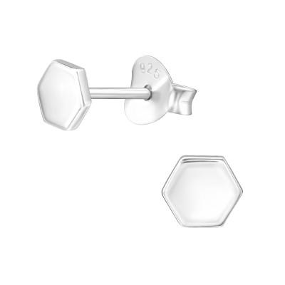 Silver Hexzagon Ear Studs