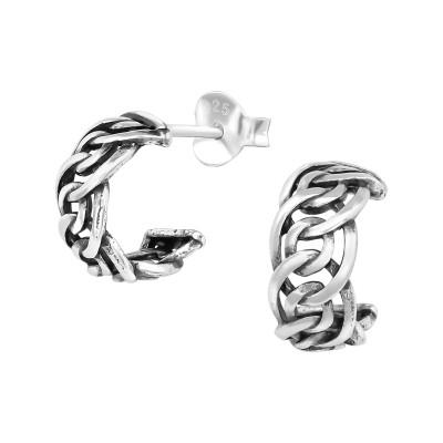Silver Half Hoop Ear Studs