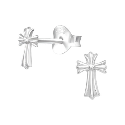 Silver Cross Ear Studs