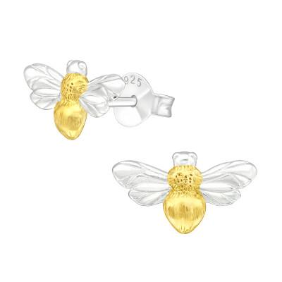 Silver Honey Bee Ear Studs