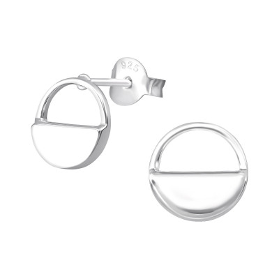Silver Semicircle Ear Studs