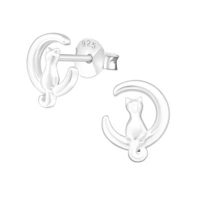 Silver Cat Ear Studs
