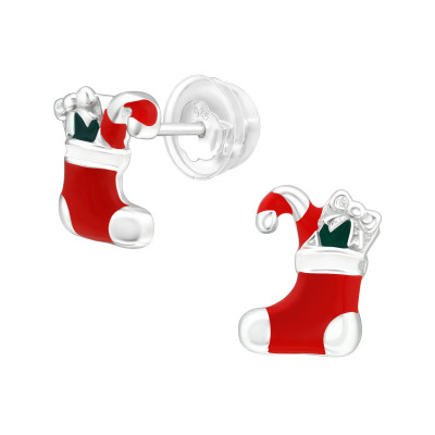Premium Children's Silver Socks Ear Studs with Epoxy