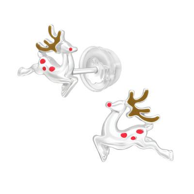 Premium Children's Silver Reindeer Ear Studs with Epoxy