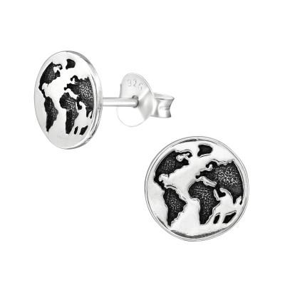 Silver Earth Ear Studs