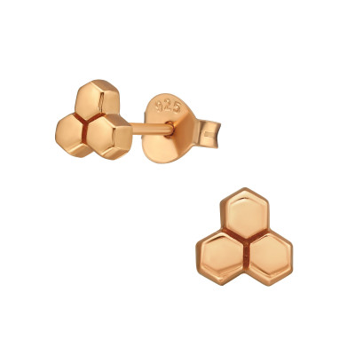 Silver Honeycomb Ear Studs