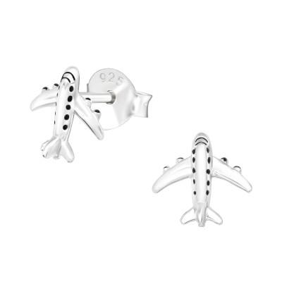 Silver Airplne Ear Studs