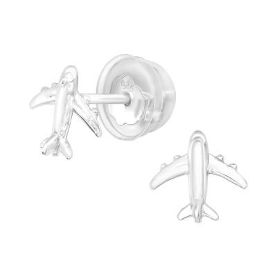 Premium Children's Silver Aircraft Ear Studs