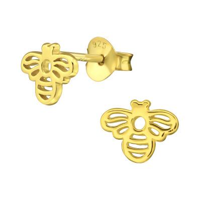Silver Bee Ear Studs