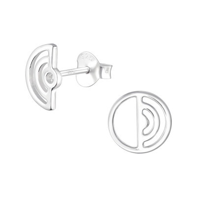 Silver Geometric Ear Studs