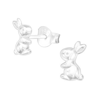 Silver Rabbit Ear Studs