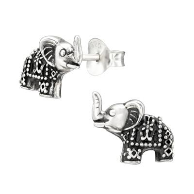 Silver Elephant Ear Studs