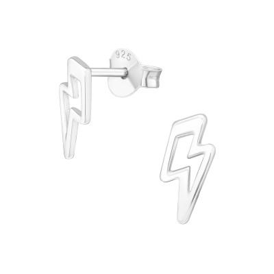 Silver Thunderbolt Ear Studs