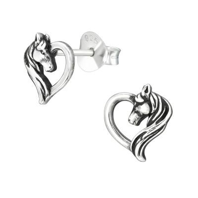 Silver Horse Lover Ear Studs