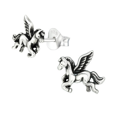 Silver Pegasus Ear Studs