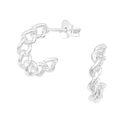Silver Chain Half Hoop Ear Studs