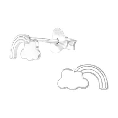 Rainbow Cloud-Carved Silver Ear Studs