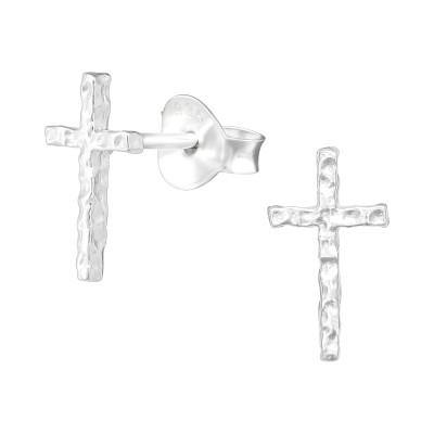 Silver Cross Ear Studs