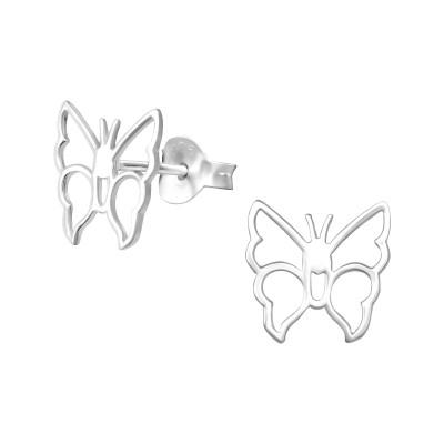 Silver Butterfly Ear Studs