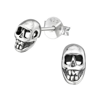 Silver Skull Ear Studs