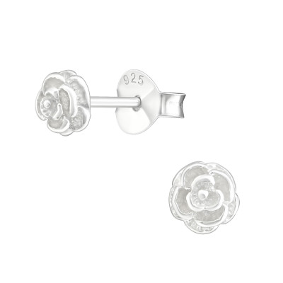 Silver Rose Ear Studs
