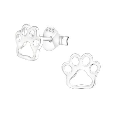 Silver Paw Print Ear Studs